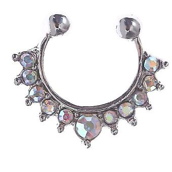 Zircon Fake Septum Piercing Nose Ring Hoop For, Non Body Jewelry Non-pierced