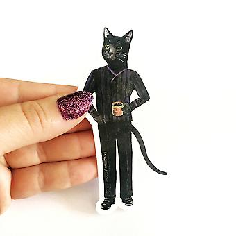 Black Cat Black Coffee Vinyl Sticker