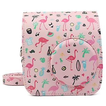 Pink Flamingo Pattern PU Leather Protective Camera Case Bag For FUJIFILM Instax Mini 7S / 7C Camera