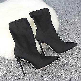 Women Pointed Toe Elastic Boots High Heel Socks Thin High Heels Women Shoes