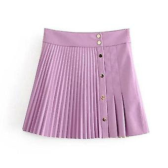 Women Spring Pu Leather Pleated Skirt