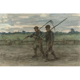 Mowers By Jozef Israels C 1860-1910 Dutch Painting Watercolor On Paper Two Male Harvesters Walk In A Field Carrying Their Scythes Poster Print