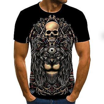 Nowy Letni Skull Print Krótki rękaw 3d Print Casual Oddychające T Shirty