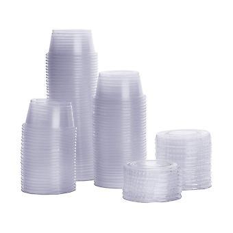 100db 4,5 * 3 * 3 * 3cm 25ml műanyag eldobható adag csészék fedéllel átlátszó