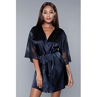 Grace Satin Kimono - Black