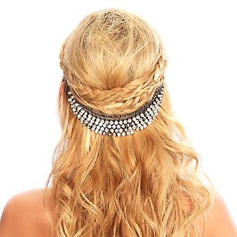 Sparkling Crystal Hair Grip Band With Metal Clamp