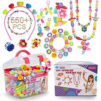 Pop beads - 550+pcs diy jewelry making kit for toddlers 3, 4, 5, 6, 7 ,8 year old, kids pop snap bea