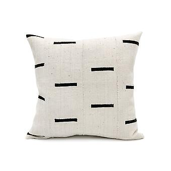Mudcloth Black Lines On White Pillow Cover