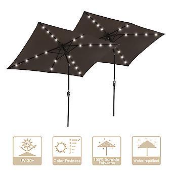 Yescom 10x6.5 ft Rectangle Outdoor Patio Aluminium Umbrella Solar Powered Led Light Crank Tilt Chocolate(Pack of 2)