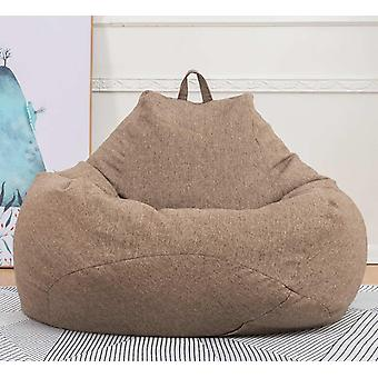 Bean Bag Sofas Cover Chairs Without Filler Linen Cloth Lounger Seat- Puff