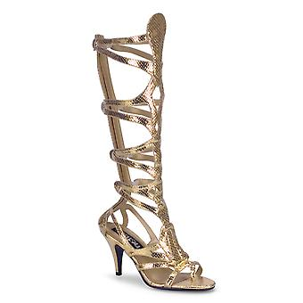 Funtasma Apparel & Accessories > Costumes & Accessories > Costume Boots > Womens GODDESS-12 Gold Met Snake Pu