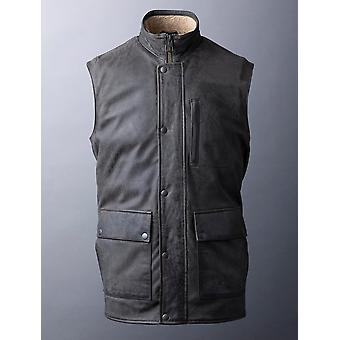 Giles Leather Gilet in Dark Brown
