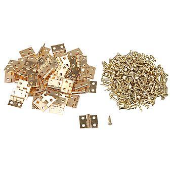 50x Mini Messing Hængsler Docrarive Box Hængsler 0.39x0.31inch Sæt med skruer