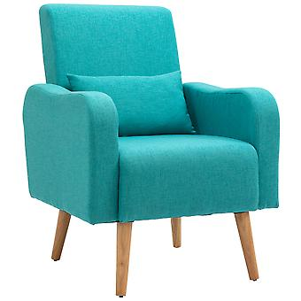 HOMCOM Linen Nordic Armchair Sofa Chair Solid Wood Living Room - Teal