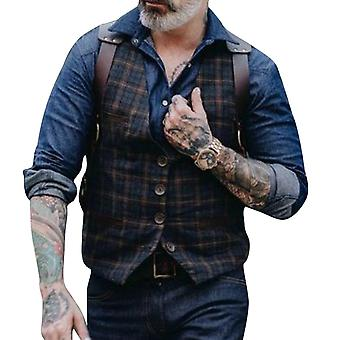 Allthemen Men's Four-button Check Pattern Vest Plus Size Casual Waistcoat