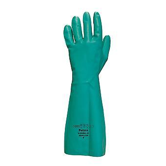Polyco ND45/09 N-Dura 45 nitriili pinnoitettu vihreä Chemcial käsineen koko 9