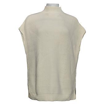 Isaac Mizrahi En direct! Women's Sweater Sleeveless W/ Mock Neck Blanc A387516