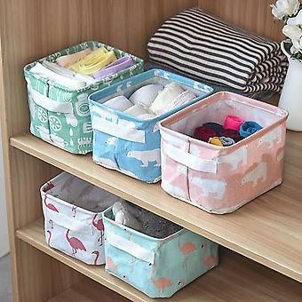 2pcs Linen Desktop Storage Box Waterproof Toy Sundries Storage Basket Cosmetic Underware Storage Organizer Office Stationery