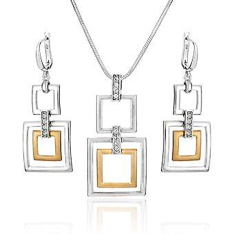 FengChun Damen Silber-Schmuckset Silber 925 Anhnger Vergoldet Eckig Swarovski Elements Braun