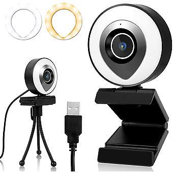 FengChun 2K Webcam mit Mikrofon Ringlicht, Full HD Streaming-Webcam mit Stativ Autofokus Weitwinkel