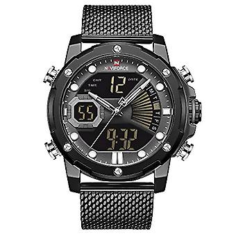 NAVIFORCE Digital Analog Wristwatch In Stainless Steel For Men, Alarm Clock, Chronograph, Timer, Dual Time Ref Display. 0749652843152