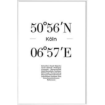 JUNIQE Print -  Köln - Typografie & Symbole Poster in Schwarz & Weiß