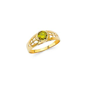 14k Yellow Gold Boys and Girls August Birthday Ring Size 3 - .7 Grams