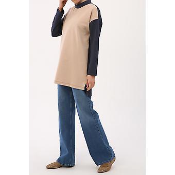 Neckband Basic Sweatshirt Tunic