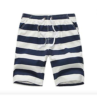Men's  Plus Size Five-point Swim Trunks In White And Blue Stripes