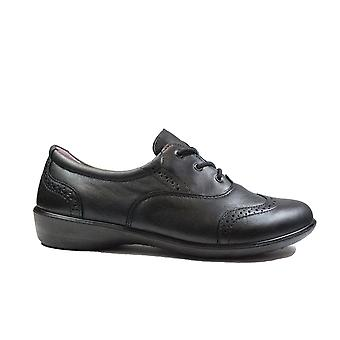 Ricosta Kate 8531600-090 Wide Width Black Leather Girls Lace Up Brogue School Shoes
