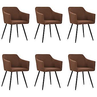 vidaXL chaises à manger 6 pcs. Tissu brun