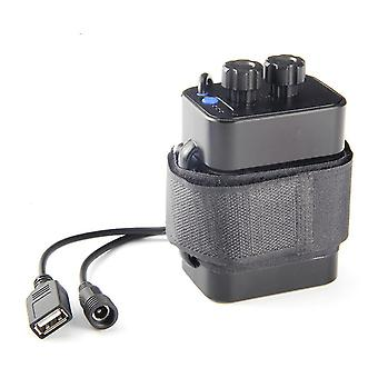 6-slot lithium battery charger, 18650 waterproof battery box, USB 5V output battery pack(Black)
