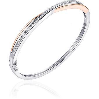 Bijoux Gisser - Bracelet - Bracelet en Zircone - 5mm De Large - Taille 56 - Bicolore Or Rose Plaqué Argent 925