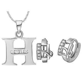 (H)  Alphabet Rhinestone Womens 26 Initial Letter Huggie Earrings Necklace Jewelry Set Silver