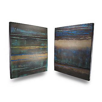 Modern Landscape Earth Tone Canvas Wall Hangings Set of 2