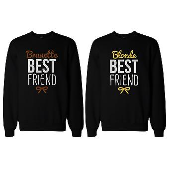 かわいいブルネットとブロンドの親友が BFF プルオーバー セーターをマッチング