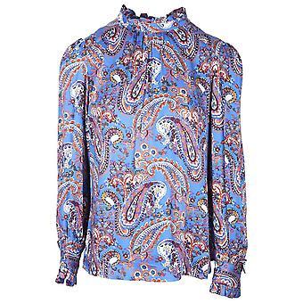 Tinta Style Blue Paisley Design Roll Neck Long Sleeve Lightweight Top