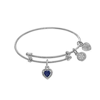 September Heart Shape CZ Birthstone Charm Adjustable Bangle Girls Bracelet