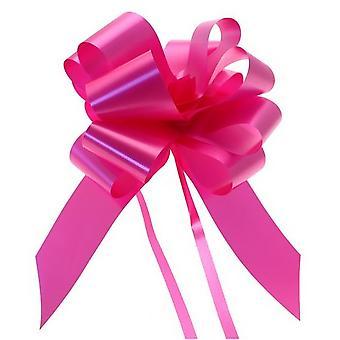 4 Pack Hot Pink 31mm Ribbon Quick Pull Schleifen für Floristik, Geschenke & Körbe