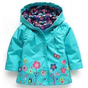 Dažďový kabát Hood Kvety Farby-zelená