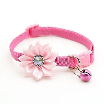 Verstellbare weiche Haustierhalsbänder mit Blumenglocken Charm Zubehör Halsbänder für Hunde Katze Halskette Haustiere