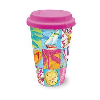 Coastal Icons Beach Patchwork Coffee Latte Tea Ceramic Travel Mug with Lid