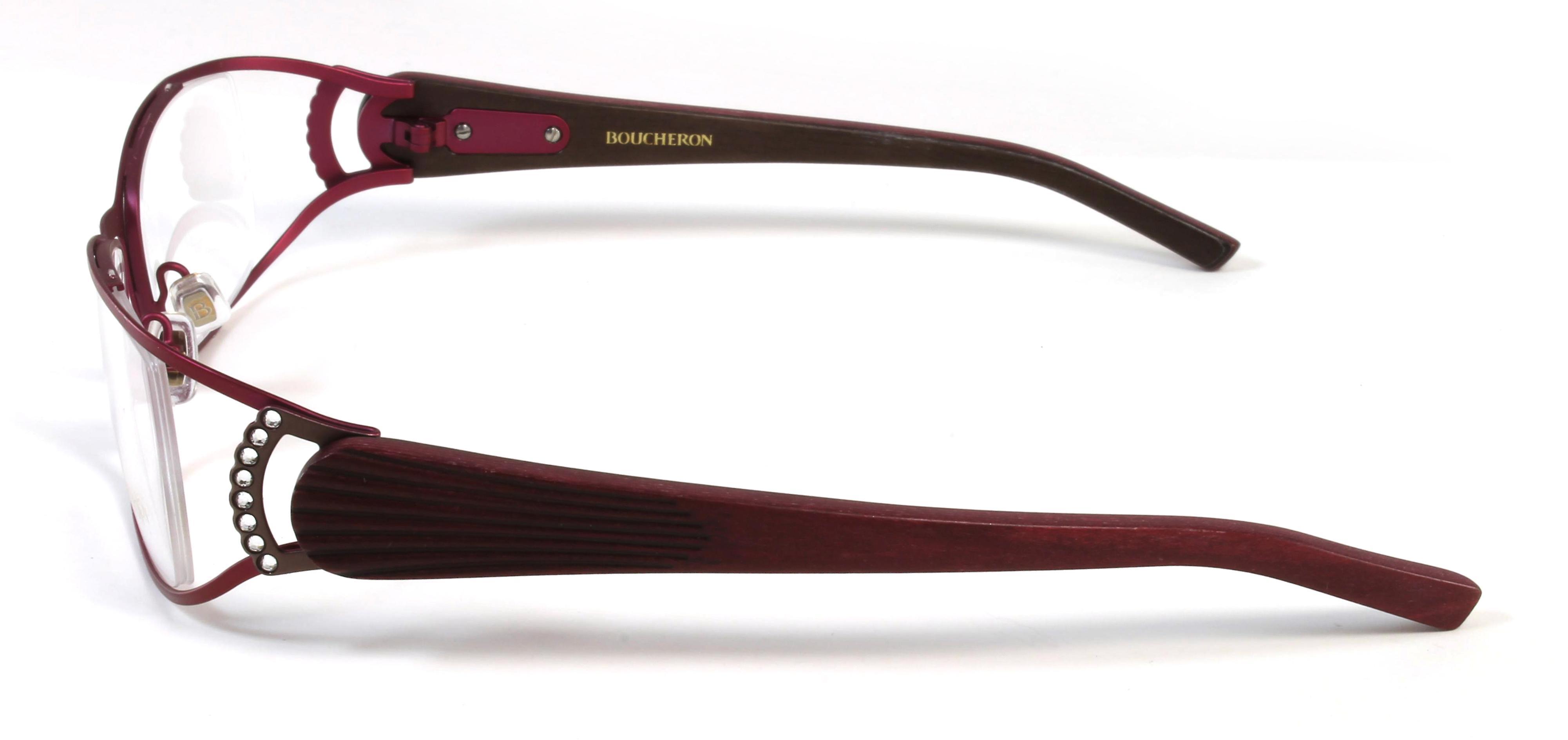 Boucheron Unisex Curved Rectangular Eyeglasses Pinkish Purple