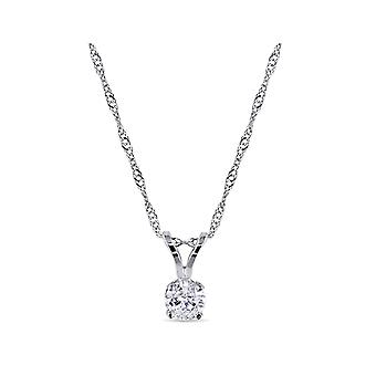 Diamond Solitaire Pendant 1/4 ctw (Carat) in 14K White Gold with Chain