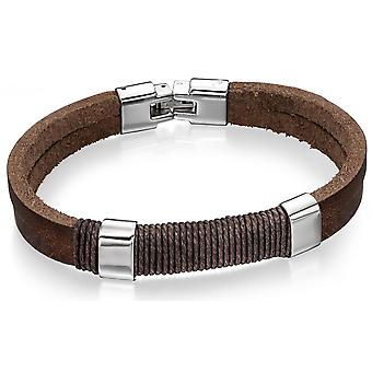 Stainless Steel Fashionable Leather And Cotton Bracelet