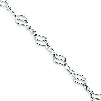 925 Sterling Silver Solid Fancy Polished Anklet Spring Ring Jewelry Gifts for Women - Length: 9 to 10