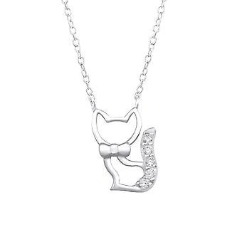 Kedi - 925 Gümüş Mücevherli Kolyeler - W32078x