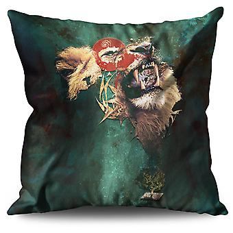 Lion Cat Face Wild Linen Cushion 30cm x 30cm | Wellcoda