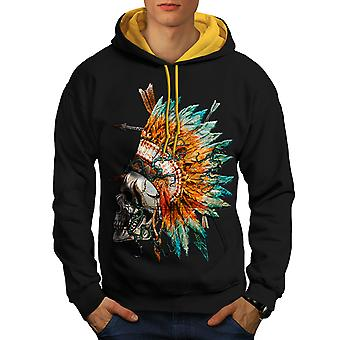 Native Feather Skull Men Black (Gold Hood)Contrast Hoodie | Wellcoda