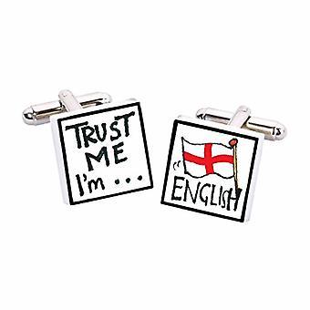 Confie em mim, eu sou inglês abotoaduras por Sonia Spencer, na apresentação de caixa de presente. Inglaterra